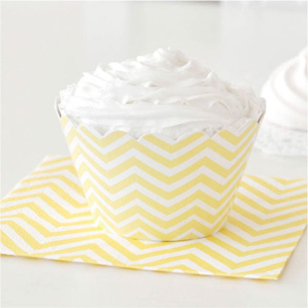 Chevron Yellow Cupcake Wrapper - Pack of 12