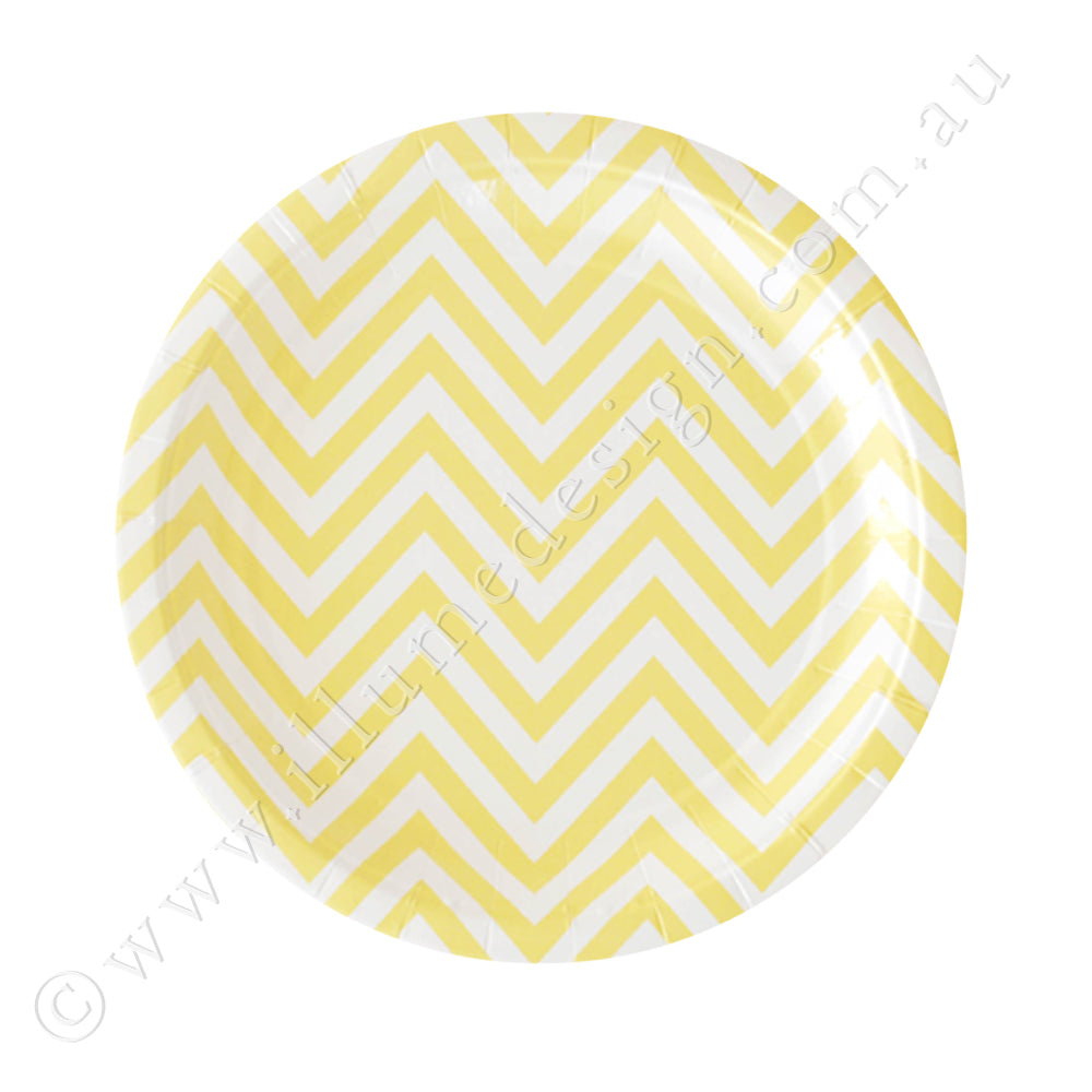 Chevron Yellow Dessert Plate - Pack of 12