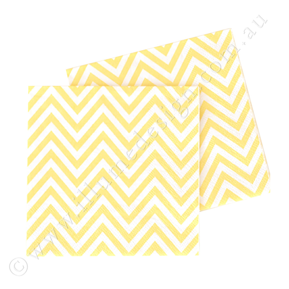 Chevron Yellow Napkin - Pack of  20