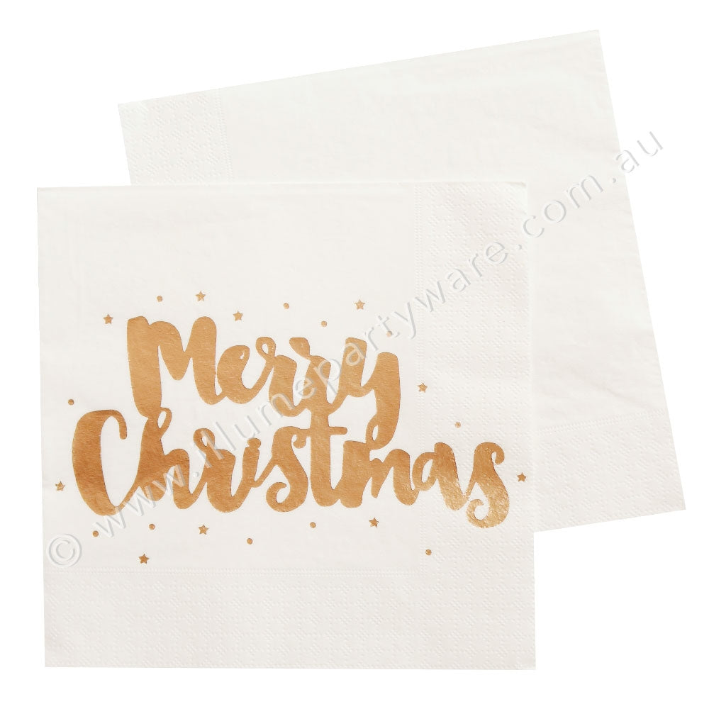 Merry Christmas Luncheon Napkin - Soft Rose Gold