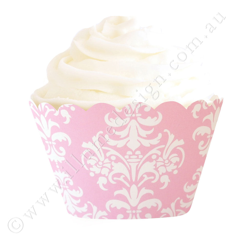 Damask Pink Cupcake Wrapper - Pack of 12