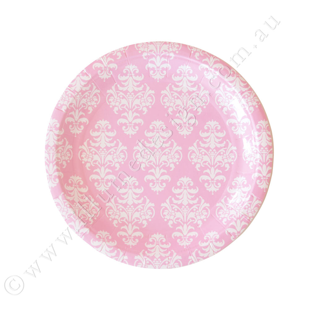 Damask Pink Dessert Plate - Pack of 12