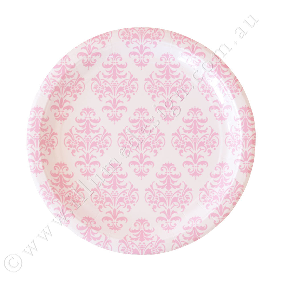 Damask Pink Large Plate - Pack of 12