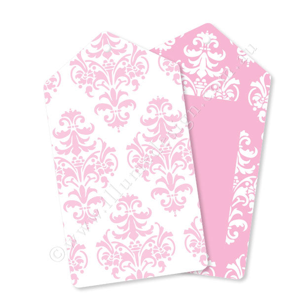 Damask Pink Tag - Pack of 12