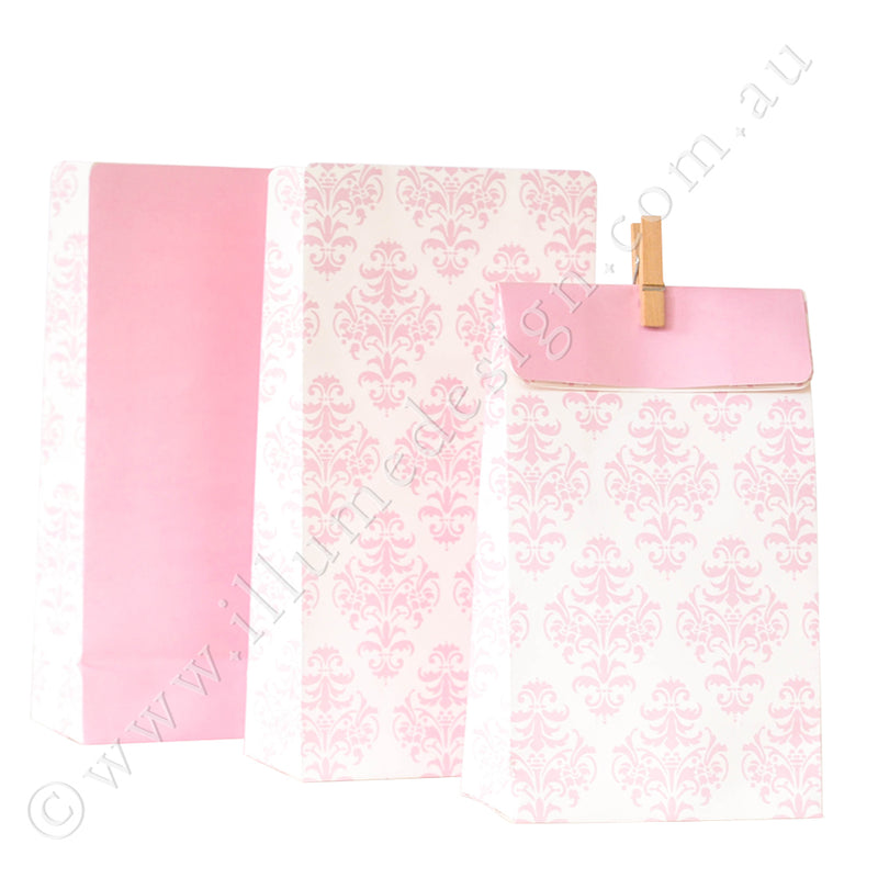 Damask Pink - Treat Bag - Pack of 12