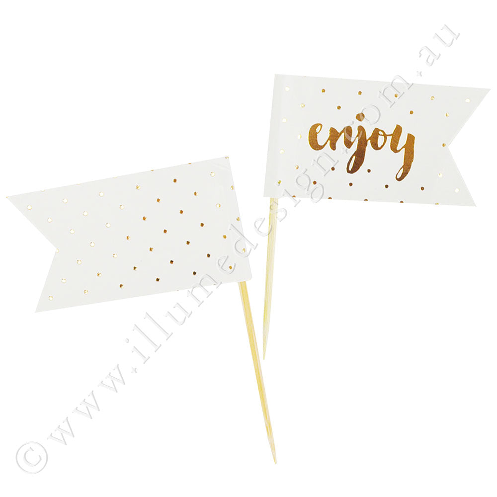 Enjoy Gold Cupcake Topper - 12 Pce