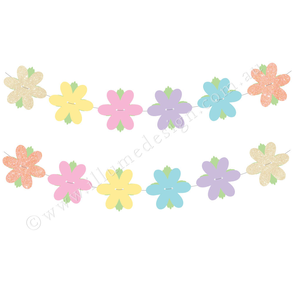 Glitter Flower Reversible Garland - 27 Pce