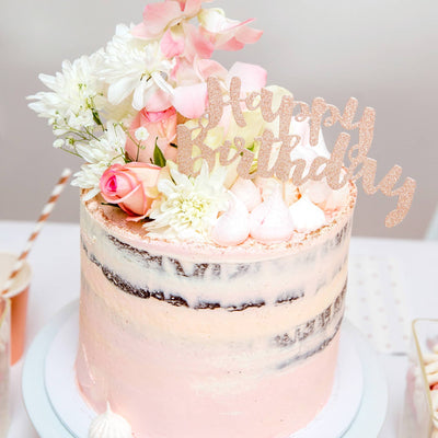Happy Birthday Rose Gold Glitter Cake Topper - 1 Pce