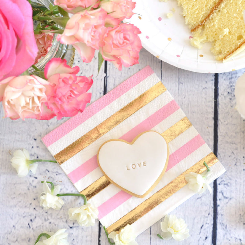 Gold & Pink, Stripe & Spots Cocktail Napkin - Pack of  20