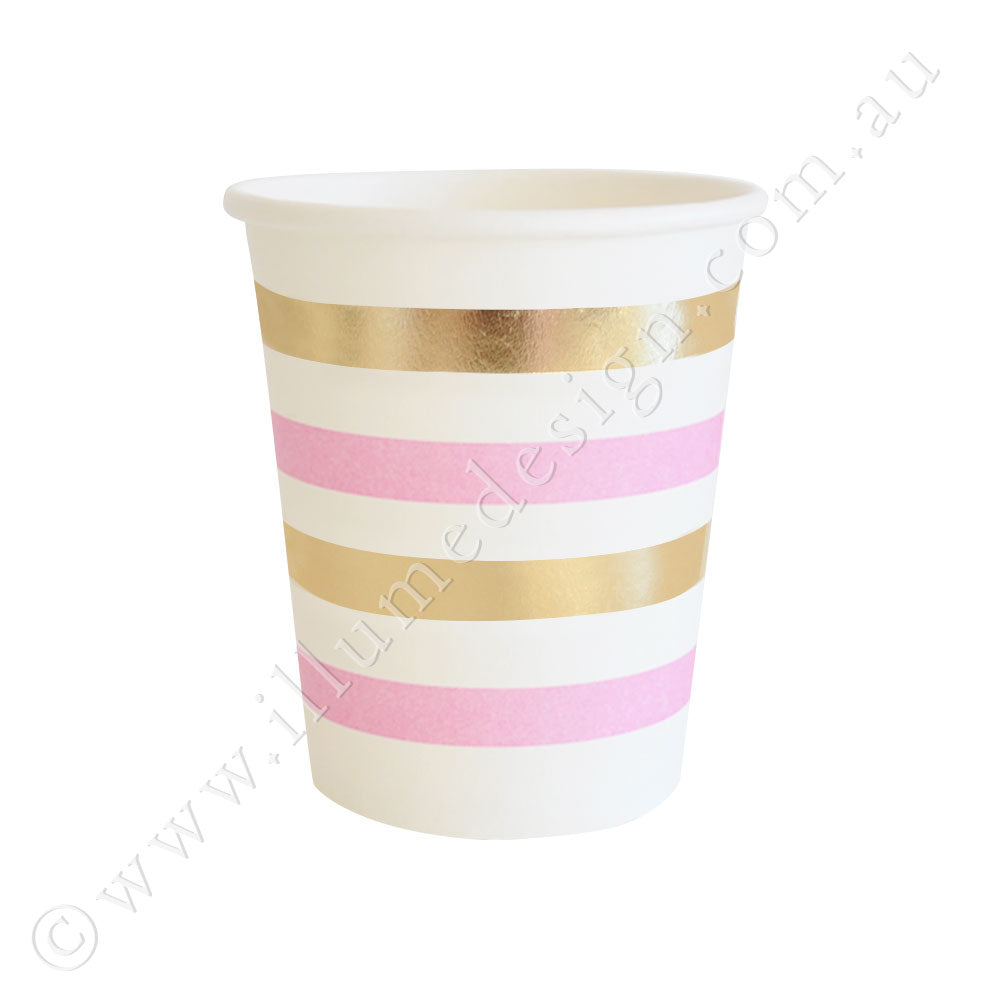 金& 粉Stripe Cup - Pack of 10