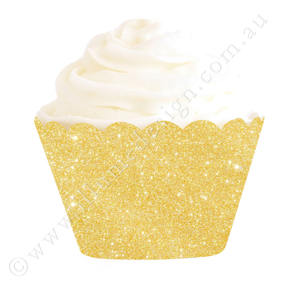 金Glitter Cupcake Wrapper - Pack of 12