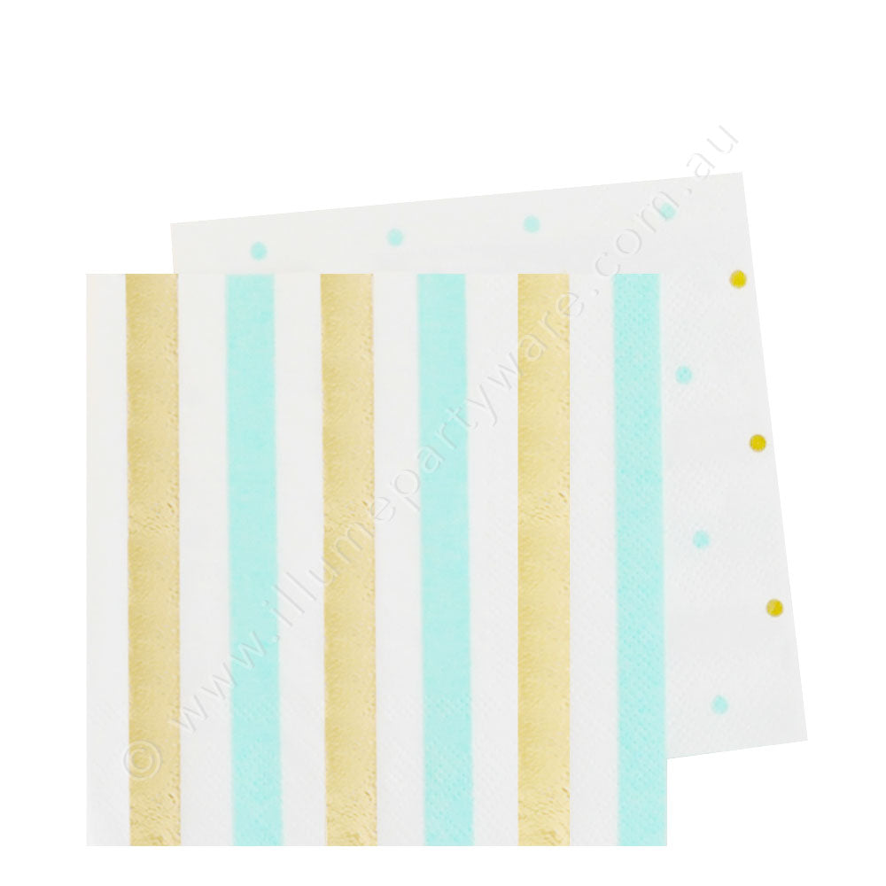 Gold & Mint, Stripe & Dots Cocktail Napkin - Pack of  20