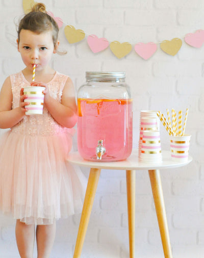 Gold & Pink Stripe Cup - Pack of 10