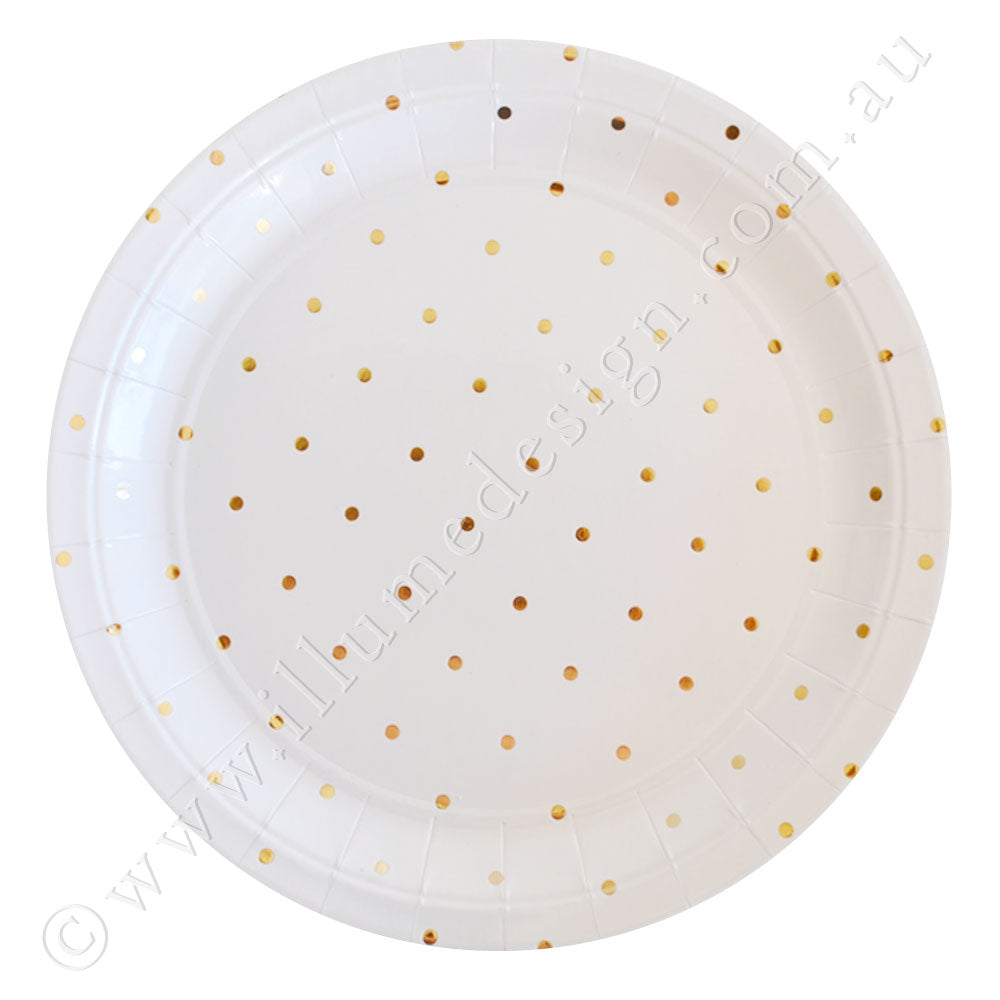 Gold Dot Large Plate - Pack of 10