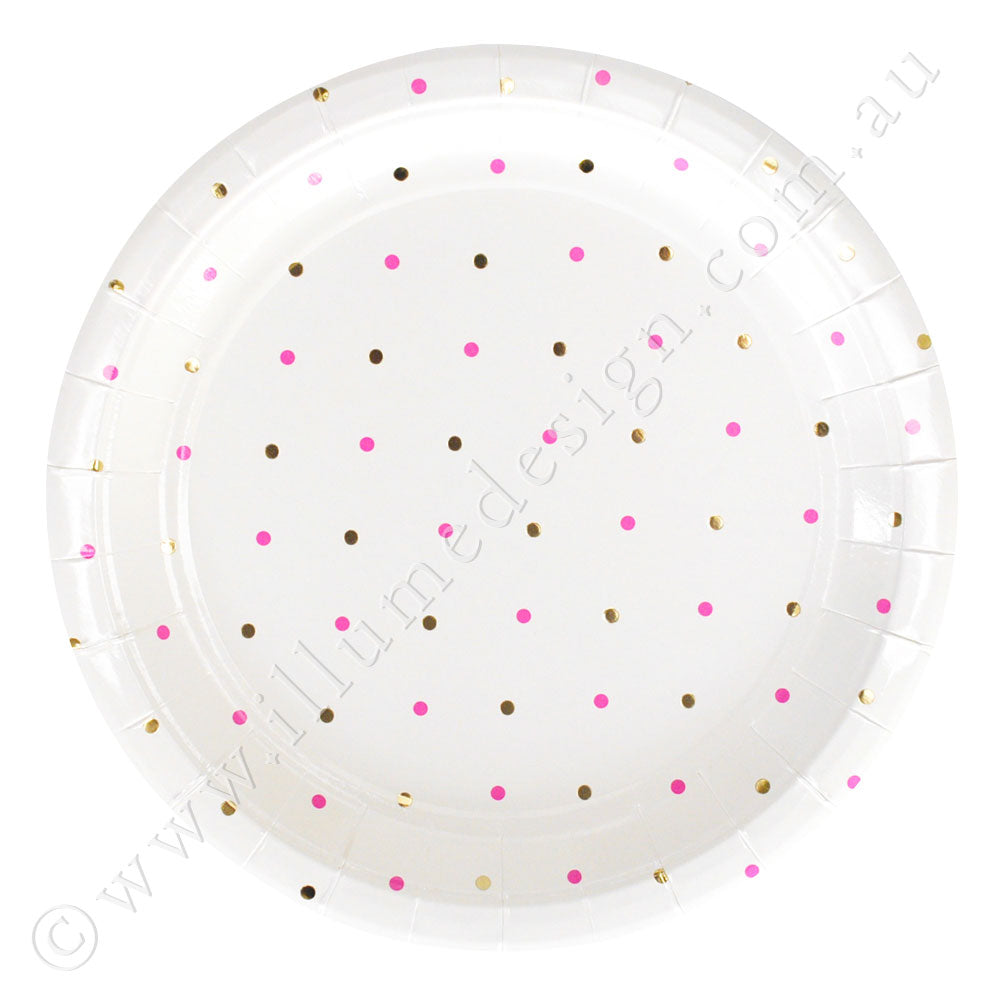 金& 粉Dots Large Plate - Pack of 10
