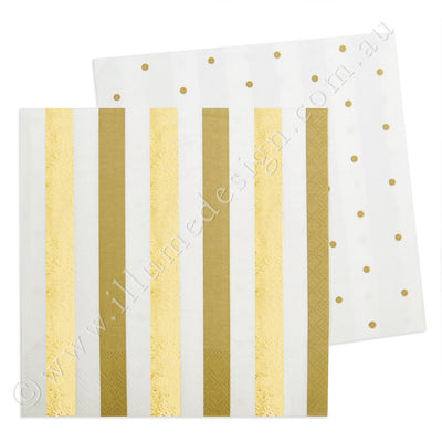 Gold Stripes & Dots Luncheon Napkin - Pack of 20