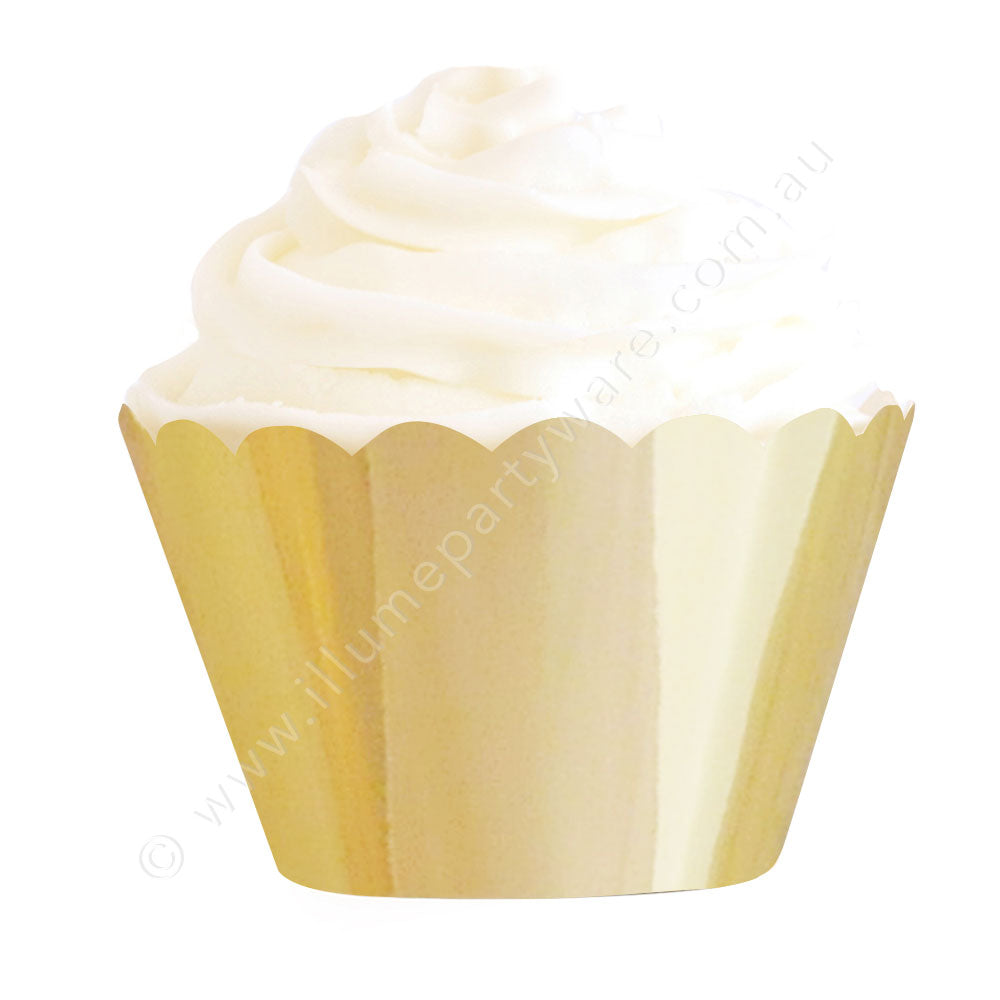 金Foil Cupcake Wrapper - Pack of 12