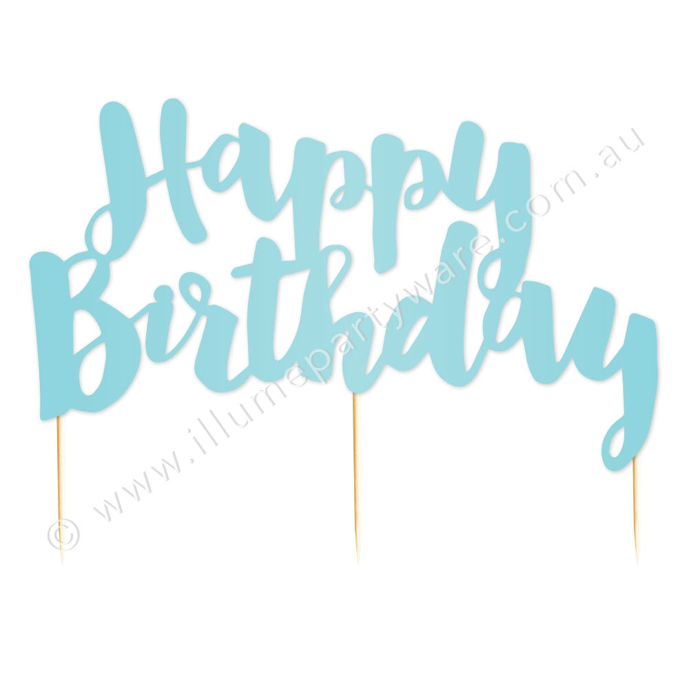 Happy Birthday Blue Foil Cake Topper - 1 Pce