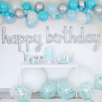 Balloon Garland Kit - BLUE & SILVER - with FREE Partyware