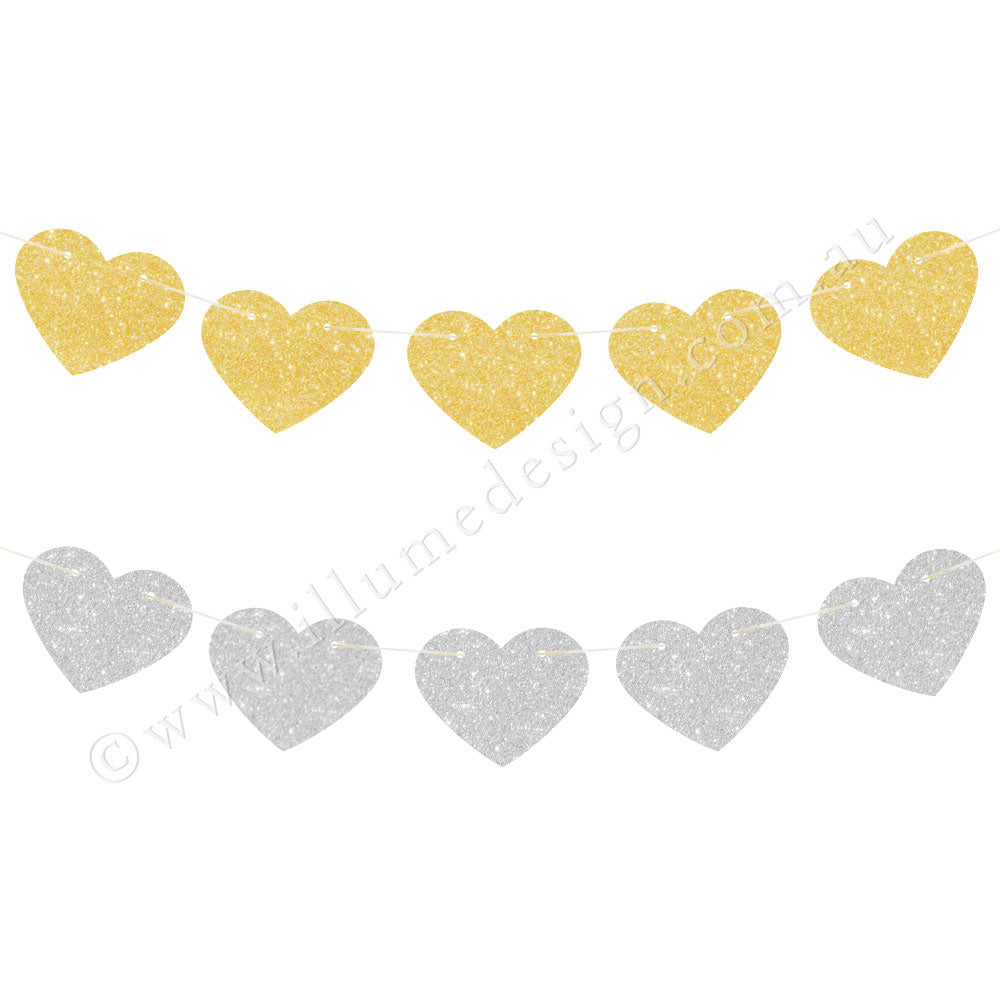Gold & Silver Glitter Heart Reversible Garland