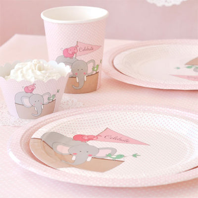 Noahs Ark Pink Large Plate - Pack of 12