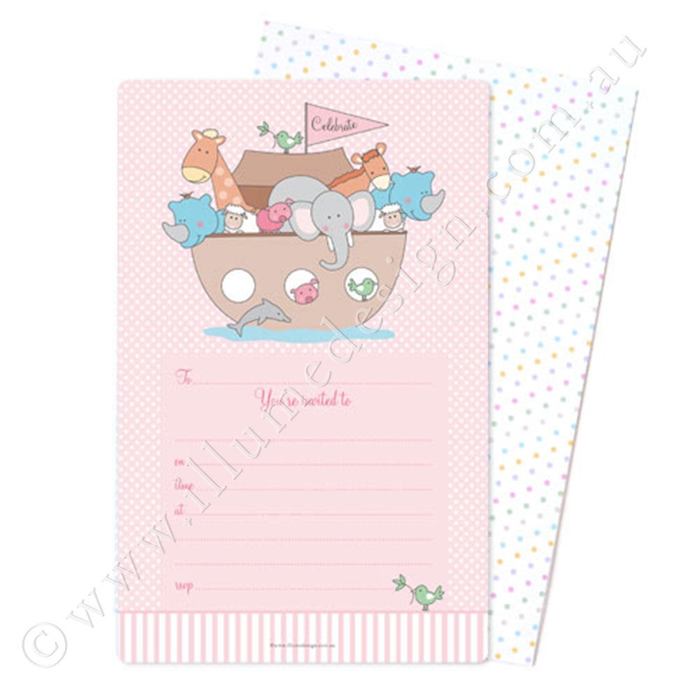 Noahs Ark Pink Invite - Pack of 12