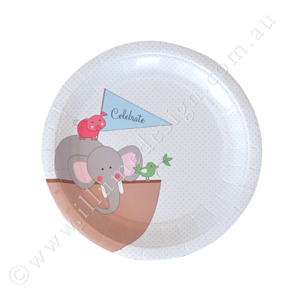 Noahs Ark Blue Dessert Plate - Pack of 12