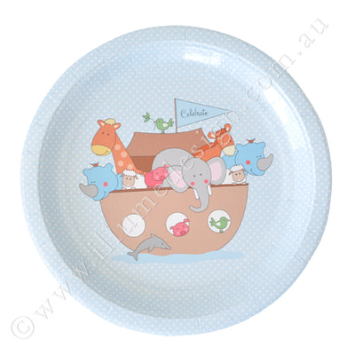 Noahs Ark Blue Large Plate - Pack of 12