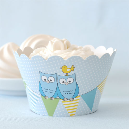 Owl Blue Cupcake Wrapper - Pack of 12