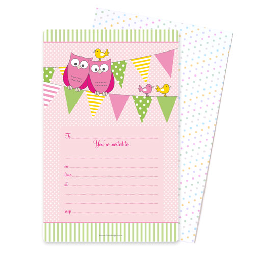 Owl Pink Invite - Pack of 12