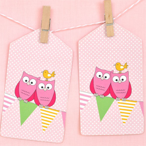 Owl Pink Tag - Pack of 12