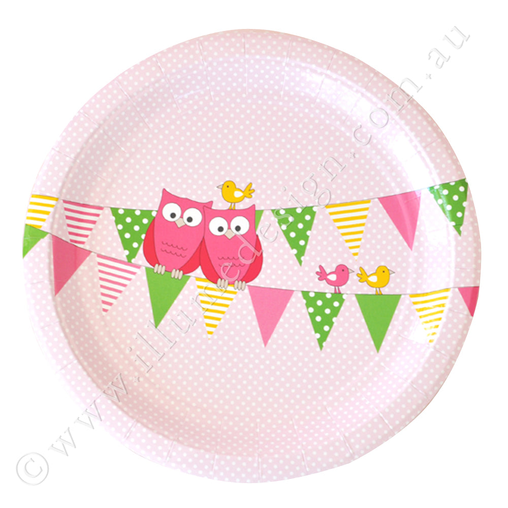 Owl Pink Large Plate - Pack of 12
