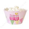 Owl Pink Cupcake Wrapper - Pack of 12