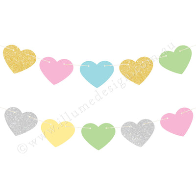 Pastel Heart Reversible Garland