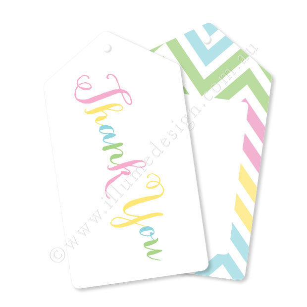 Pastel Thank You Tag - Pack of 12