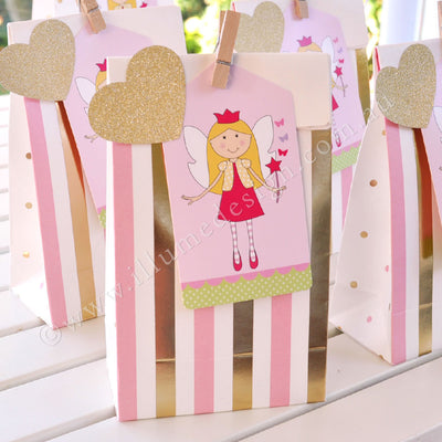 Gold & Pink, Stripes & Spots - Treat Bag - Pack of 10