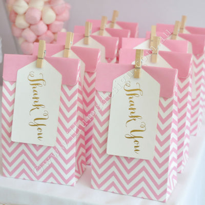 Chevron Pink Treat Bag with Gold Thank You Tag