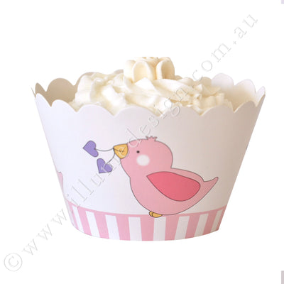 Pink Bird Cupcake Wrapper - Pack of 12
