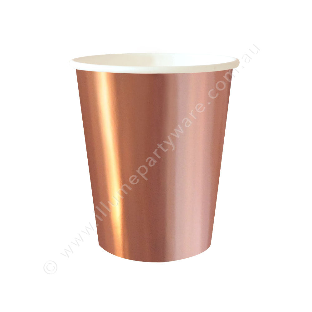 Rose Gold Foil Cup - Pack of 10 - 9OZ (300ml)