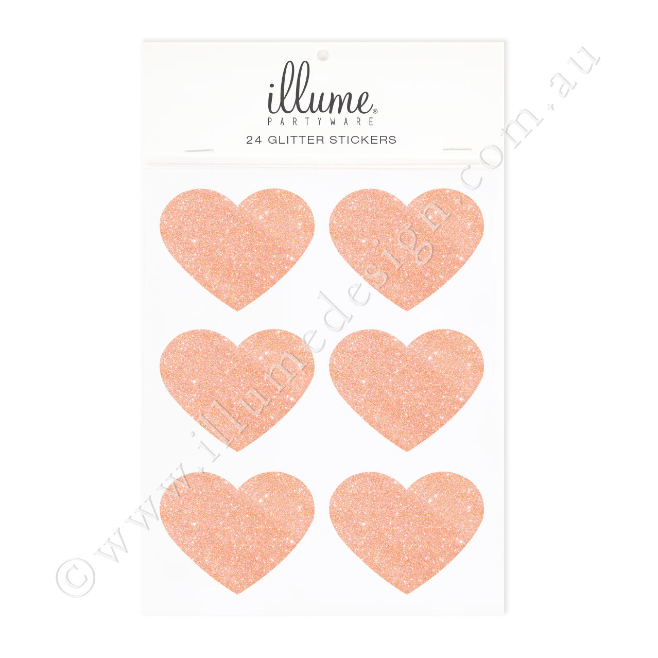 Rose Gold Glitter Heart Sticker Seals - Pack of 24