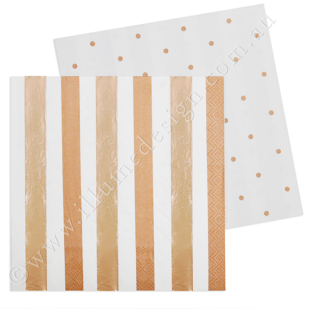 Rose Gold Stripes & Dots Luncheon Napkin - Pack of 20