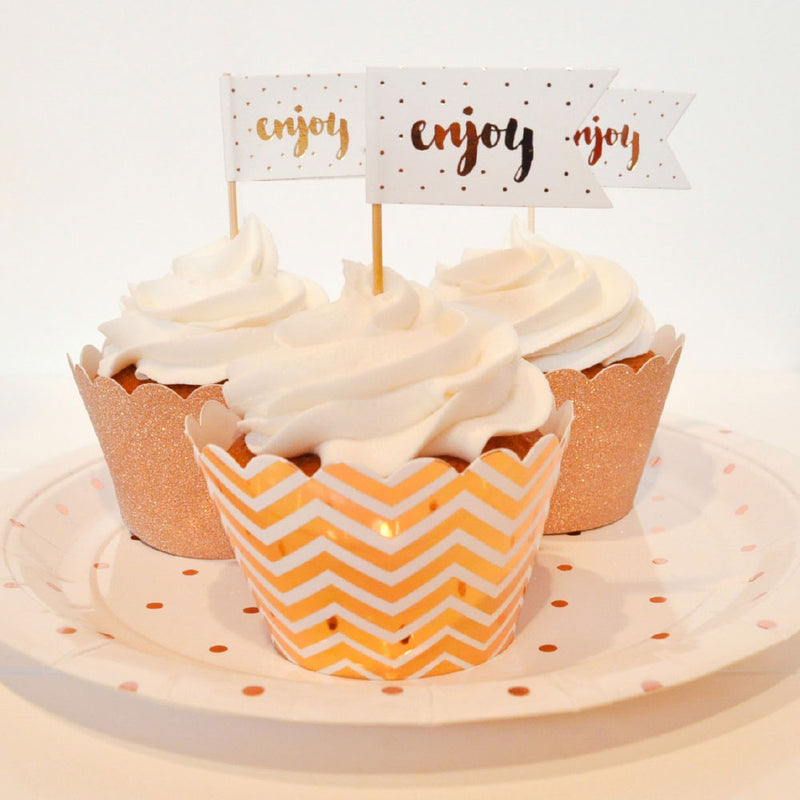 Chevron Rose Gold Cupcake Wrapper - Pack of 12