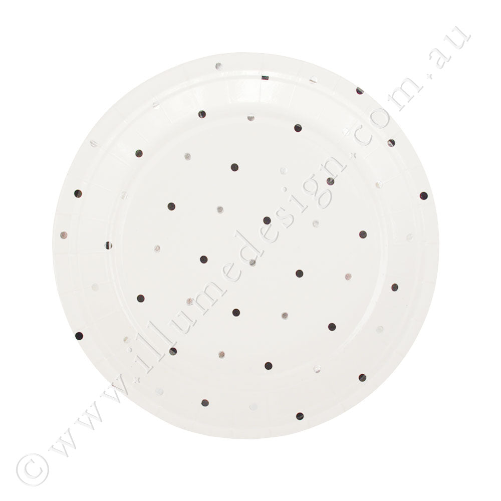 Silver & Black Spots Dessert Plate -Pack of 10