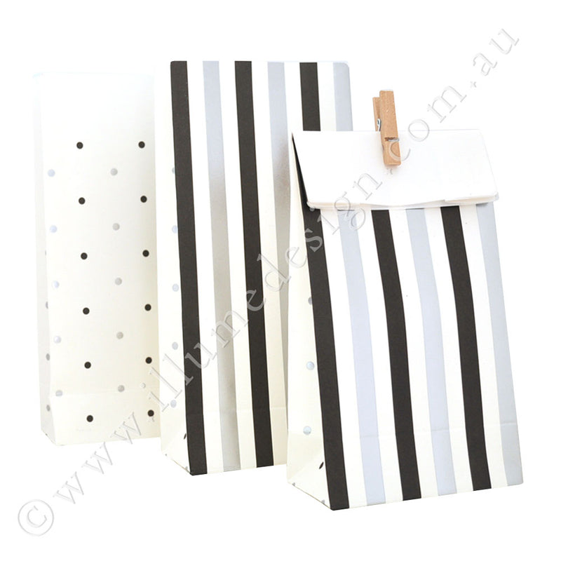 Silver & Black, Stripes & Spots - Treat Bag - Pack of 10