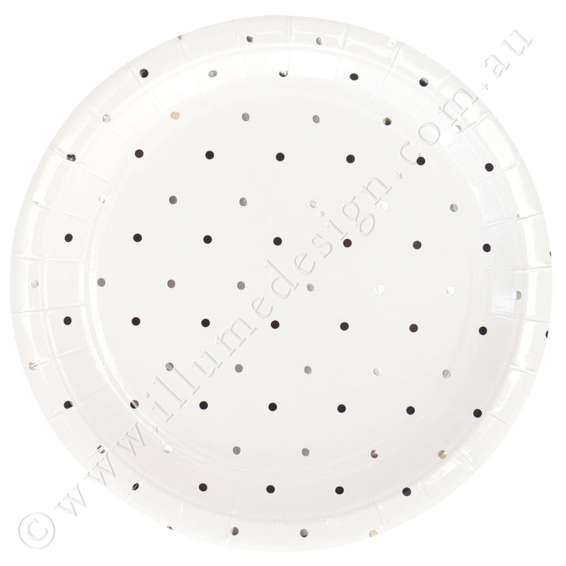 Silver & Black Dots Large Plate - Pack of 10