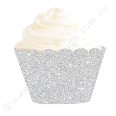 Silver Glitter Cupcake Wrapper- Pack of 12