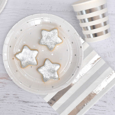 Silver Dots Dessert Plate -Pack of 10