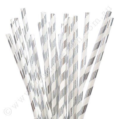 Silver Foiled Striped Paper Straws - Pack of 25