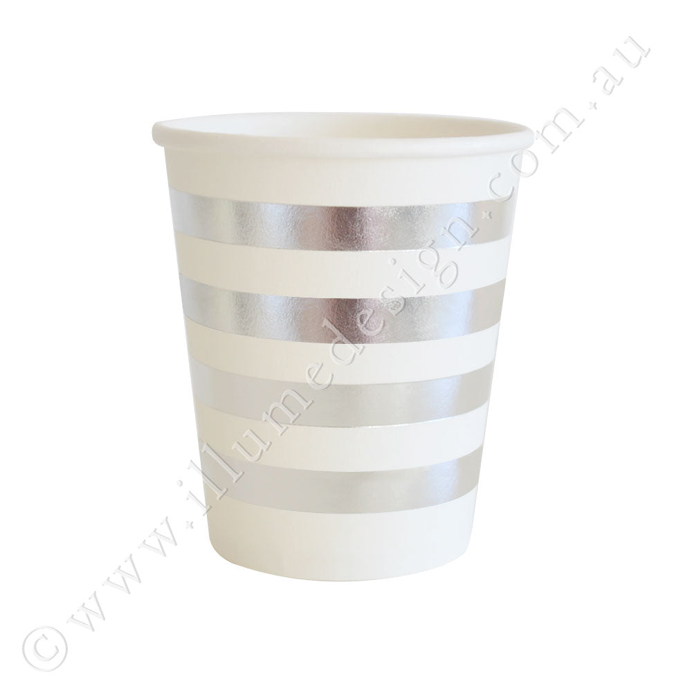 Silver Stripes Cup - Pack of 10