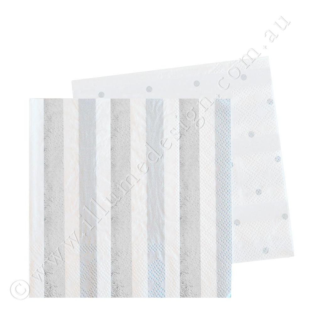 Silver Stripes & Dots Cocktail Napkin - Pack of  20